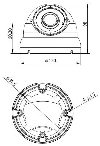 Telecamera Dome ottica varifocal Sony Starvis IMX326 5MPx 2592x1944 OSD MENU 4in1 5MPx IP66