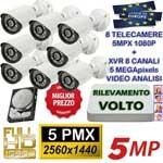 Vai alla scheda di: Kit DVR 5MPx 8ch con rilevamento viso + 8 telecamere 5MPx Sony + hard disk omaggio