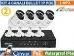 Vai alla scheda di: Kit videosorveglianza NVR 8 canali IP POE con 4 cam IP POE 2MPx 1080P Hard Disk OMAGGIO