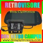 Vai alla scheda di: Specchio Retrovisore con Monitor 7 pollici e telecamera retro camper CCD colore 18 led IR 92 gradi VISUALE