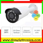 Telecamera Bullet Sony StarLight AHD 1080P 2 MegaPixel Varifocal 2.8-12mm quadri ibrida 24 SMD Led infrarosso stagna IP66